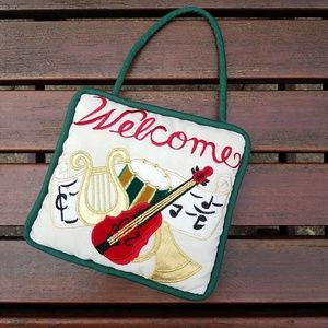 Holiday Welcome Embrodiered Door Knob Pillow